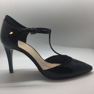 "Nine West Black Patent Pointy Toe 4"" Heels 11M"